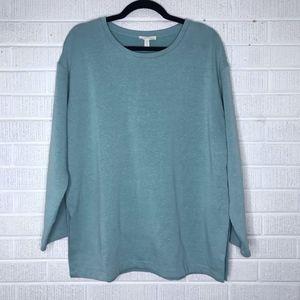 Eileen Fisher Crewneck Sweatshirt Teal Green Small